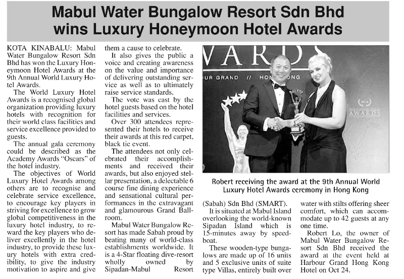 Mabul Water Bungalows Resort Sdn Bhd wins Luxury Honeymoon Hotel Awards